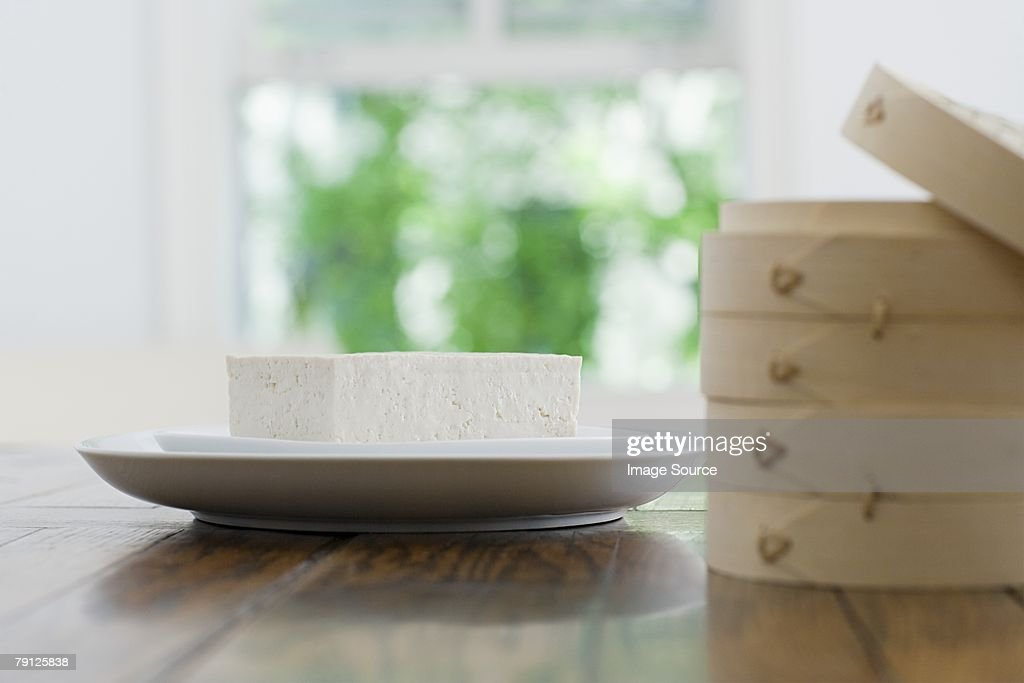 Tofu on a plate : Stock Photo