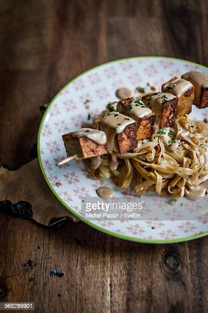 Tofu Satay And Rice Noodles Served In Plate