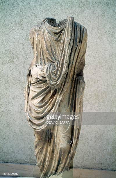 Togaed marble statue Medina Sidonia Andalusia Spain Roman civilisation 1st century Cádiz Museo De Cádiz