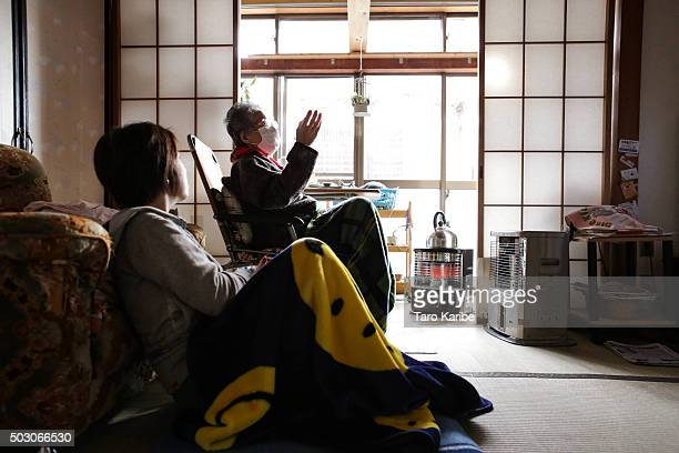 Togawa familly visit their aunt's house to greet for the New Year in AizuWakamatsu Fukushima on December 28 2015 in Tokyo Japan In Japan the New Year...