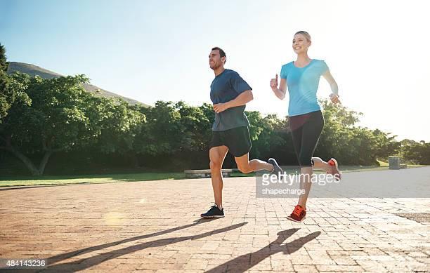 Zusammen auf der Straße zum fitness