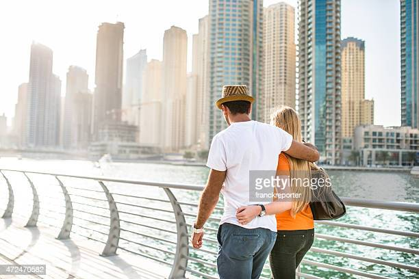 togetherness couple in vacations on Dubai Marina - UAE