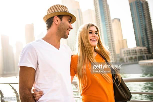 togetherness couple in vacations on Dubai Marina - UAE