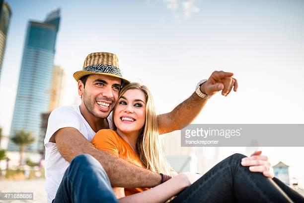 togetherness couple on the beach in Dubai marina