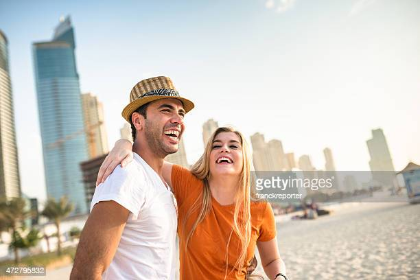 togetherness couple on the beach in Dubai marina