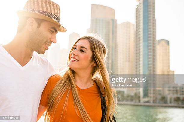 togetherness couple walking in Dubai Marina - UAE