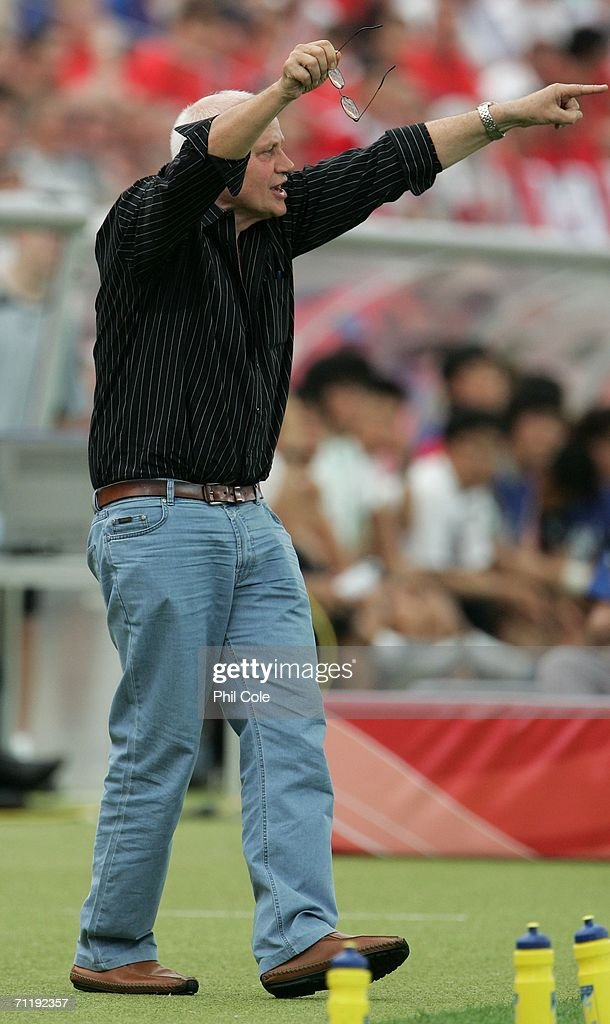Togo coach Otto Pfister celebrates on the sidelines after his team score a goal during the FIFA World Cup Germany 2006 Group G match between South Korea and Togo at the Stadium Frankfurt on June 13, 2006 in Frankfurt, Germany.