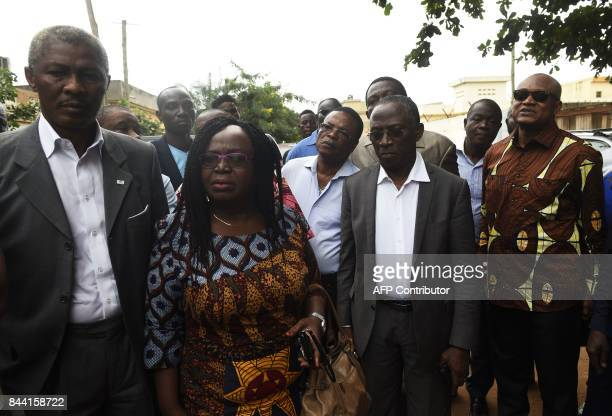 Togo opposition leaders Nathaniel Olympio Brigitte Adjamagbo Dodji Apevon and JeanPierre Fabre arrive at the residence of leader of the PanAfrican...
