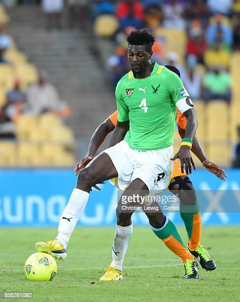 Togo s Emmanuel Abebayor during the 2013 Africa Cup of Nations soccer match Cote d'Ivoire vs Togo vs at Soccer City stadium in Royal Bafokeng on...