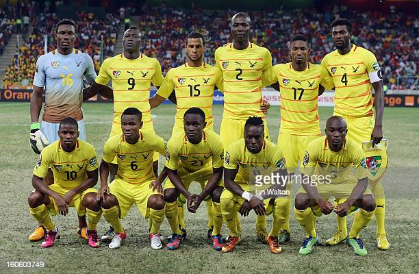 Togo team line up during the 2013 Africa Cup of Nations QuarterFinal match between Burkina Faso and Togo at the Mbombela Stadium on February 3 2013...