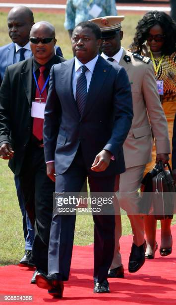 Togolese President Faure Gnassingbe arrives to attend the swearingin ceremony of Liberia's presidentelect on January 22 2018 in Monrovia's stadium To...