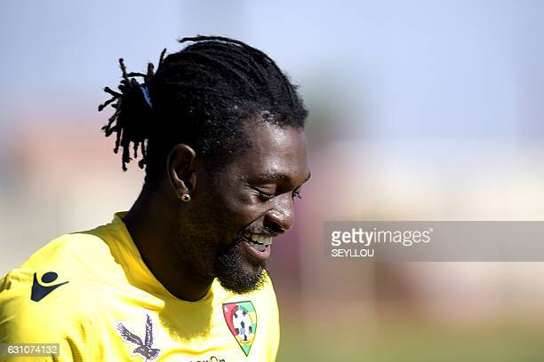 Togo's Emmanuel Adebayor takes part in a training session on January 6, 2017 at the Diamars Institut in Mbour, as part of th preparations for the...