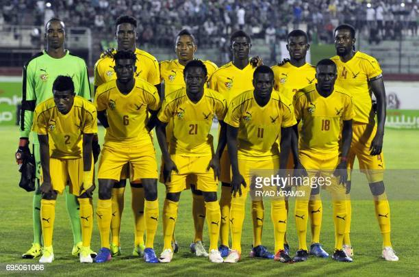 Togo's first eleven pose for a team photo prior to their 2019 African Cup of Nations qualification Group D football match between Algeria and Togo at...
