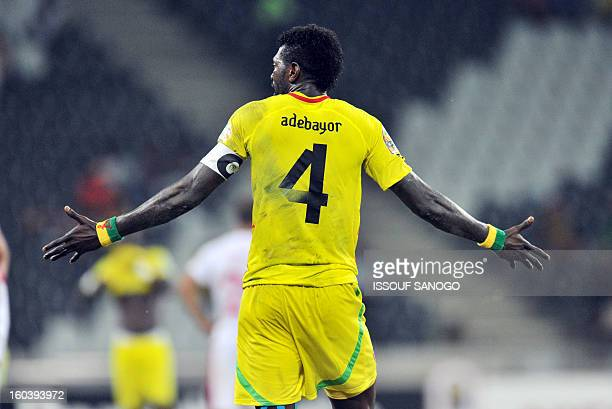 Togo's forward Emmanuel Adebayor reacts during the Africa Cup of Nations 2013 group D football match Togo vs Tunisia on January 30 2013 at the...