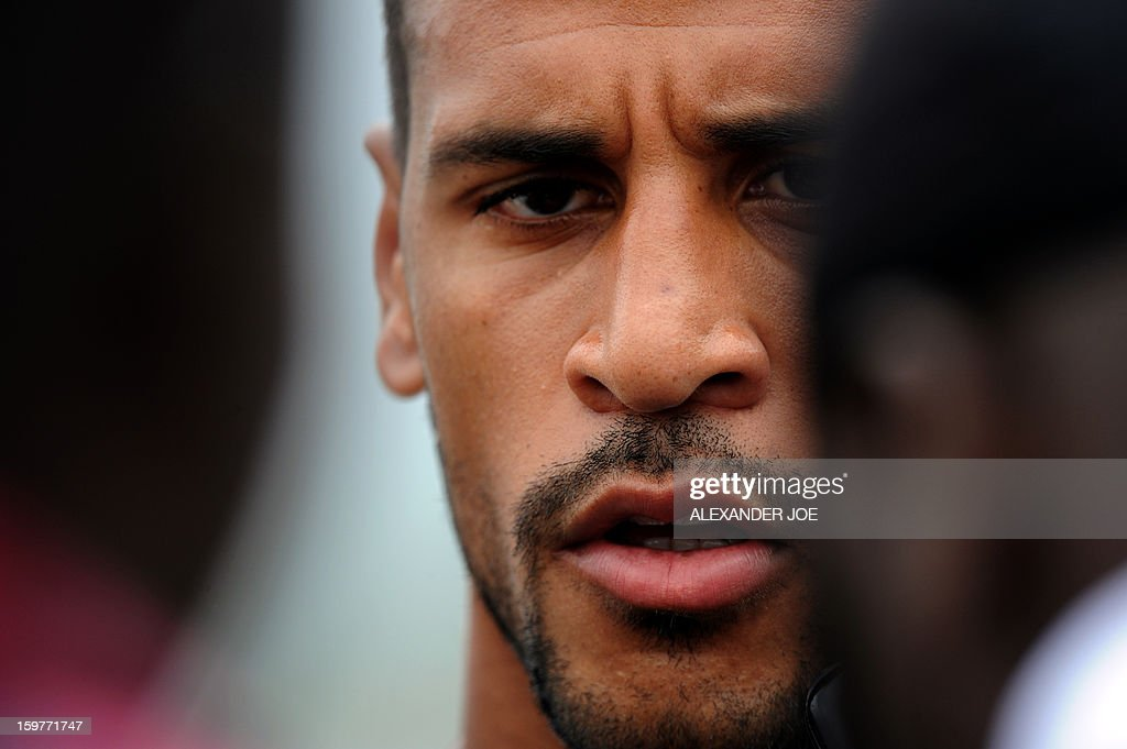 Togo's midfielder Aleixys Romao talks to the media after a training session on January 20, 2013 at Moruleng Stadium in Moruleng, on the eve of a Group D 2013 Africa Cup of Nations match against Ivory Coast.