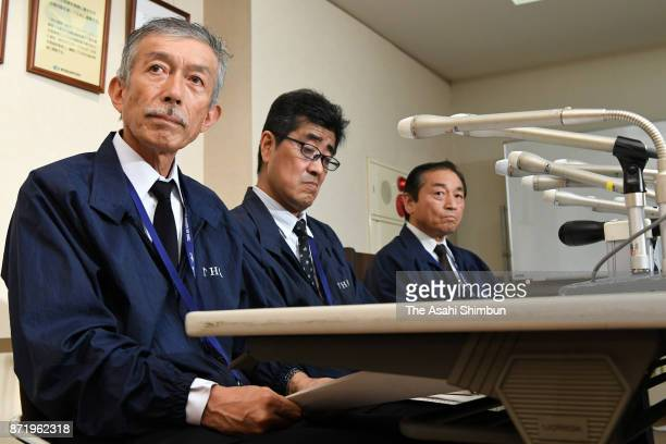 Toho Air Service executives attend a press conference after the crash of an AS332 helicopter on November 8 2017 in Tokyo Japan A private helicopter...