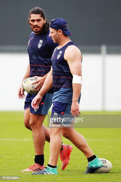 Tohu Harris and Blake Green of the Warriors run through drills during a New Zealand Warriors NRL training session at Mt Smart Stadium on February 8...