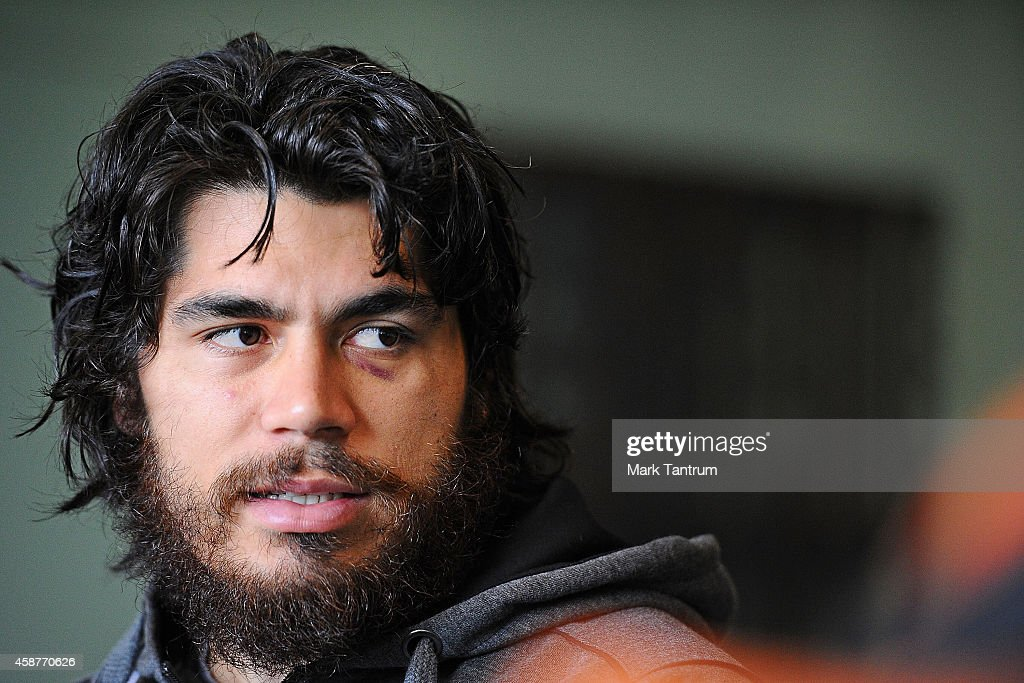 Tohu Harris during the New Zealand media session at Te Rauparaha Arena on November 11, 2014 in Wellington, New Zealand.