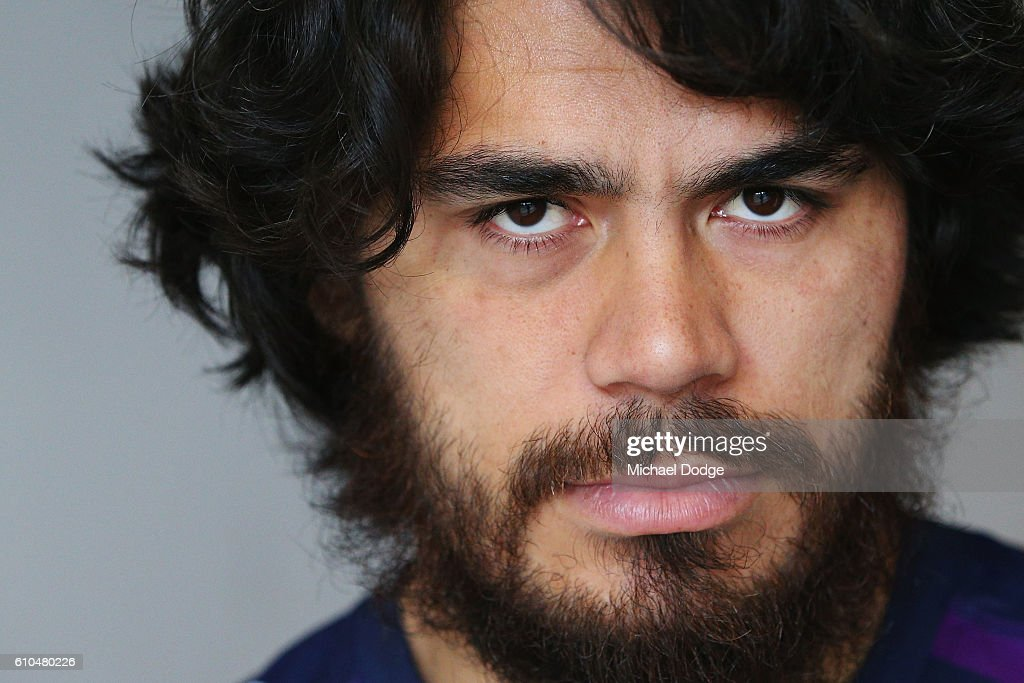 Tohu Harris of the Storm poses during a Melbourne Storm NRL media opportunity at AAMI Park on September 26, 2016 in Melbourne, Australia.