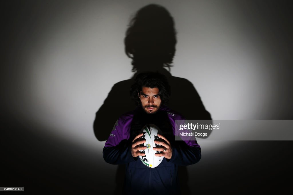 Tohu Harris of the Storm poses during a Melbourne Storm NRL training session at AAMI Park on September 18, 2017 in Melbourne, Australia.