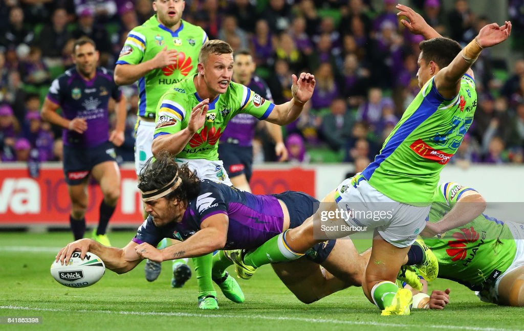 Tohu Harris of the Storm scores a try during the round 26 NRL match between the Melbourne Storm and the Canberra Raiders at AAMI Park on September 2, 2017 in Melbourne, Australia.