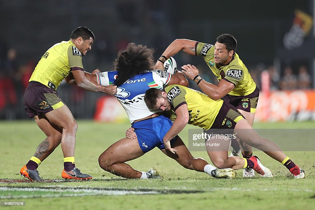 Tohu Harris of the Warriors is tackled during the round six NRL match between the New Zealand Warriors and the Brisbane Broncos at Mt Smart Stadium on April 14, 2018 in Auckland, New Zealand.