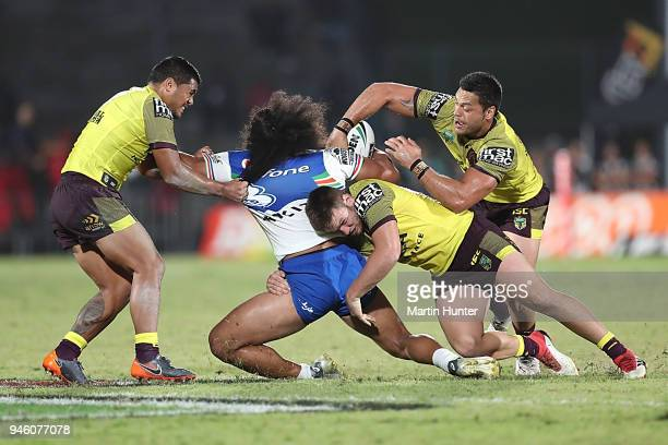 Tohu Harris of the Warriors is tackled during the round six NRL match between the New Zealand Warriors and the Brisbane Broncos at Mt Smart Stadium...