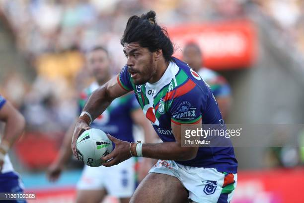 Tohu Harris of the Warriors makes a break during the round 1 NRL match between the New Zealand Warriors and the Canterbury Bulldogs at Mt Smart...