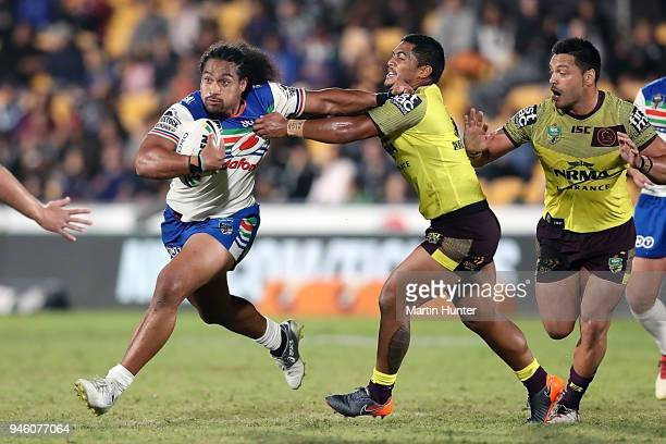 Tohu Harris of the Warriors makes a break during the round six NRL match between the New Zealand Warriors and the Brisbane Broncos at Mt Smart...