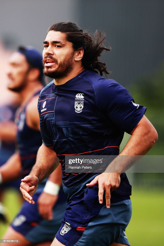 Tohu Harris of the Warriors runs through drills during a New Zealand Warriors NRL training session at Mt Smart Stadium on February 8, 2018 in Auckland, New Zealand.