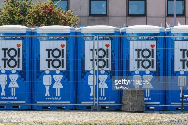 Toi Toi portable toilets standing along the STS Dar Mlodziezy sail training ship are seen in Gdynia Poland on 19 May 2018 Dar Mlodziezy first...