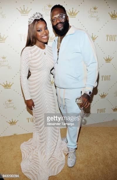 Toie Roberts and Rick Ross attend Toie's Royal Court Super Sweet 16 at Versace Mansion on April 7 2018 in Miami Florida