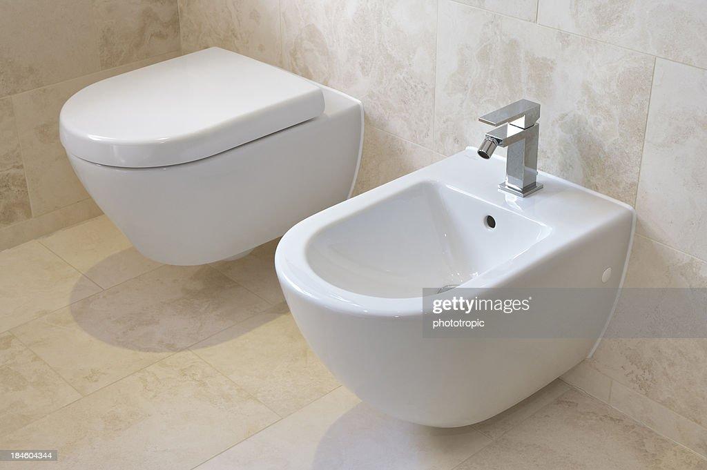 toilet and bidet : Stock Photo