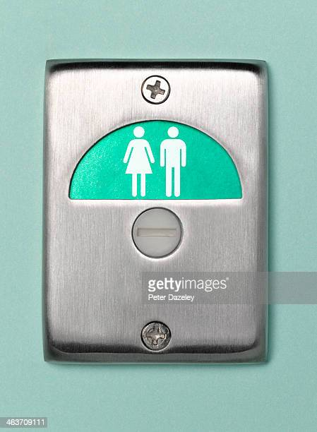 toilet door sign male and female vacant - public toilet stock pictures, royalty-free photos & images