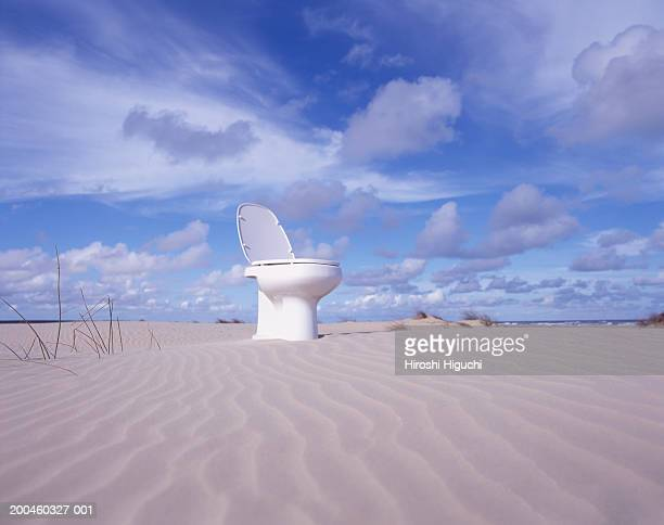 Toilet on beach, low angle view