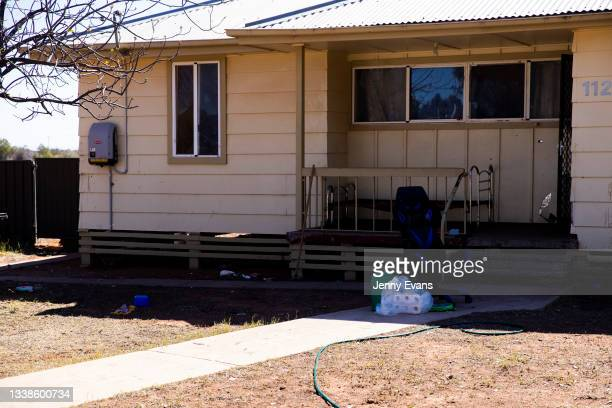 Toilet paper is delivered and left near the porch on September 06, 2021 in Wilcannia, Australia. After hearing locals in isolation were struggling...