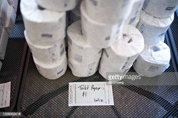 Toilet paper sits for sale where proceeds go to staff members at Chef Geoff's restaurant in Washington DC US on Thursday March 26 2020 As the wheels...