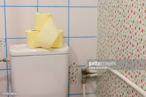 toilet paper stands on a white toilet in the toilet - odessa crisis stock pictures, royalty-free photos & images