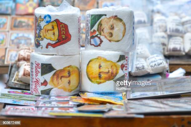 Toilet paper with images of Russia's President Putin on display for sale in Lviv's Old Town street market On Wednesday 11 January 2018 in Lviv Ukraine