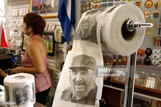 Toilet paper with the face of Cuban leader Fidel Castro is displayed at Sentir Cubano a Cuban store along Calle Ocho in the Little Havana...