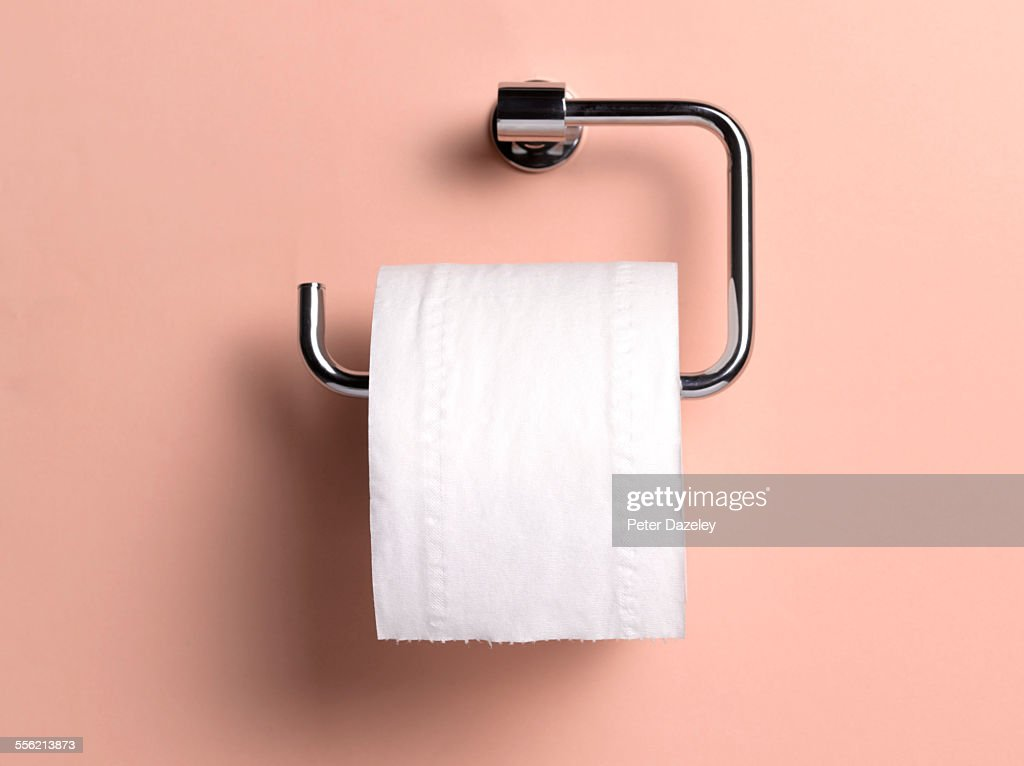 Toilet roll holder with copy space : Stock Photo