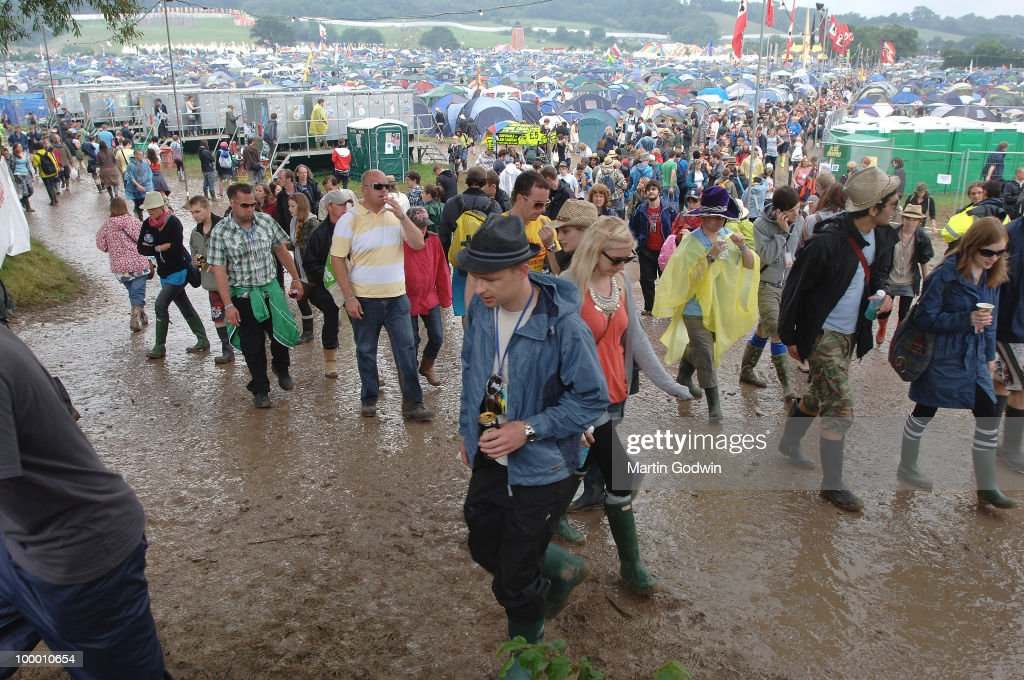 Toilets, Tents, Crowds, and Mud at Glastonbury, 26th June 2009.