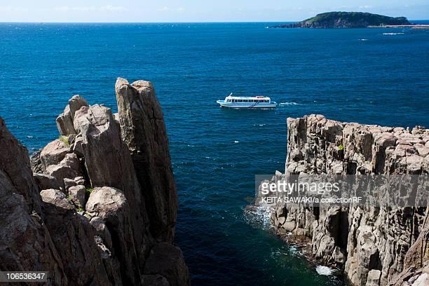 tojinbo and oshima island, fukui prefecture, honshu, japan - fukui prefecture stock photos and pictures