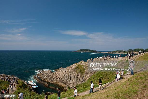 tojinbo cliffs - fukui prefecture stock photos and pictures