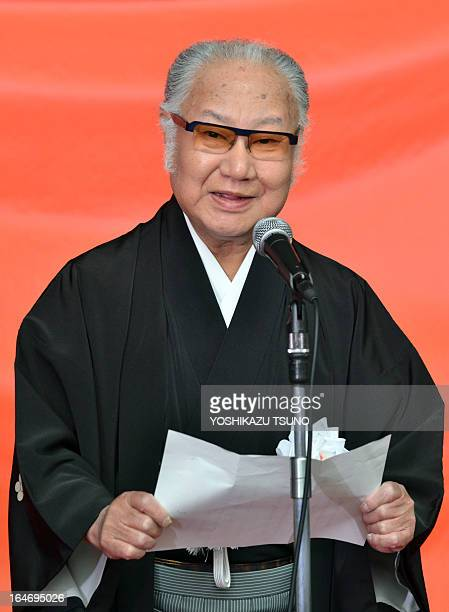 Tojyuro Sakata president of the actors association delivers a speech as 63 kabuki actors parade at Tokyo's Ginza district on Marh 27 2013 for the...