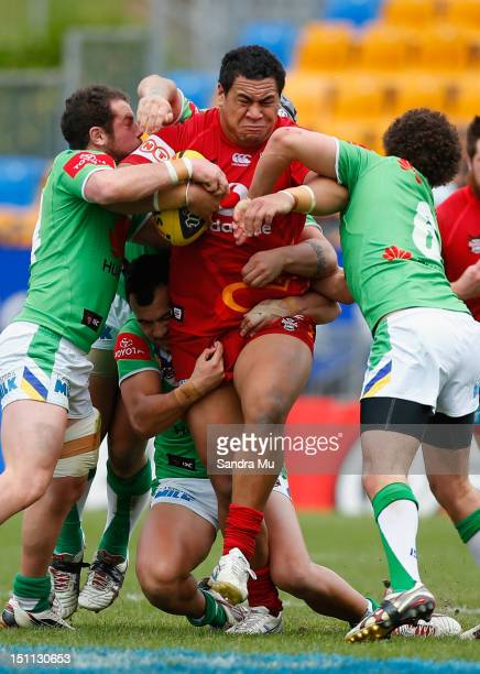 Toka Likiliki of the Junior Warriors is tackled during the Toyota Cup round 26 match between the New Zealand Warriors and the Canberra Raiders at Mt...