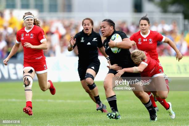 Toka Natua of New Zealand Black Ferns is tackled by Lori Josephson of Canada during the Women's Rugby World Cup Pool A match between Canada and New...