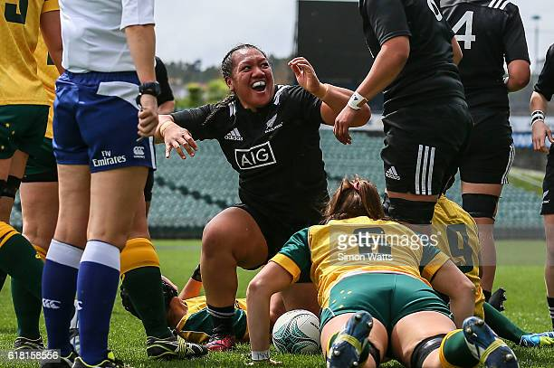 Toka Natua of the Black Ferns celebrates a try during the International Test match between the New Zealand Black Ferns and Australia Wallaroos at...