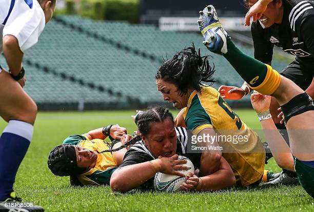 Toka Natua scores a try during the International Test match between the New Zealand Black Ferns and Australia Wallaroos at North Harbour Stadium on...