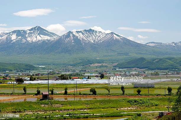 Tokachi mountains and field in Furano, Japan